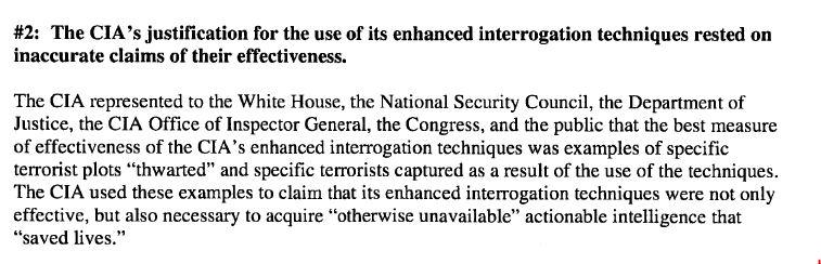 Non ci sono prove dell'effettiva utilità delle torture.