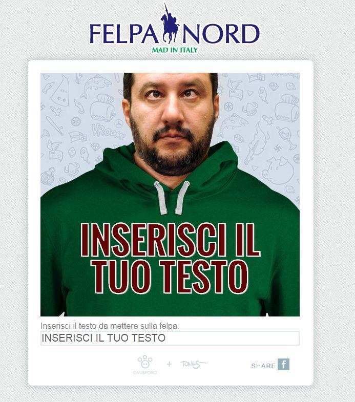 Il generatore di scritte sulle felpe di Salvini (via Felpa Nord)
