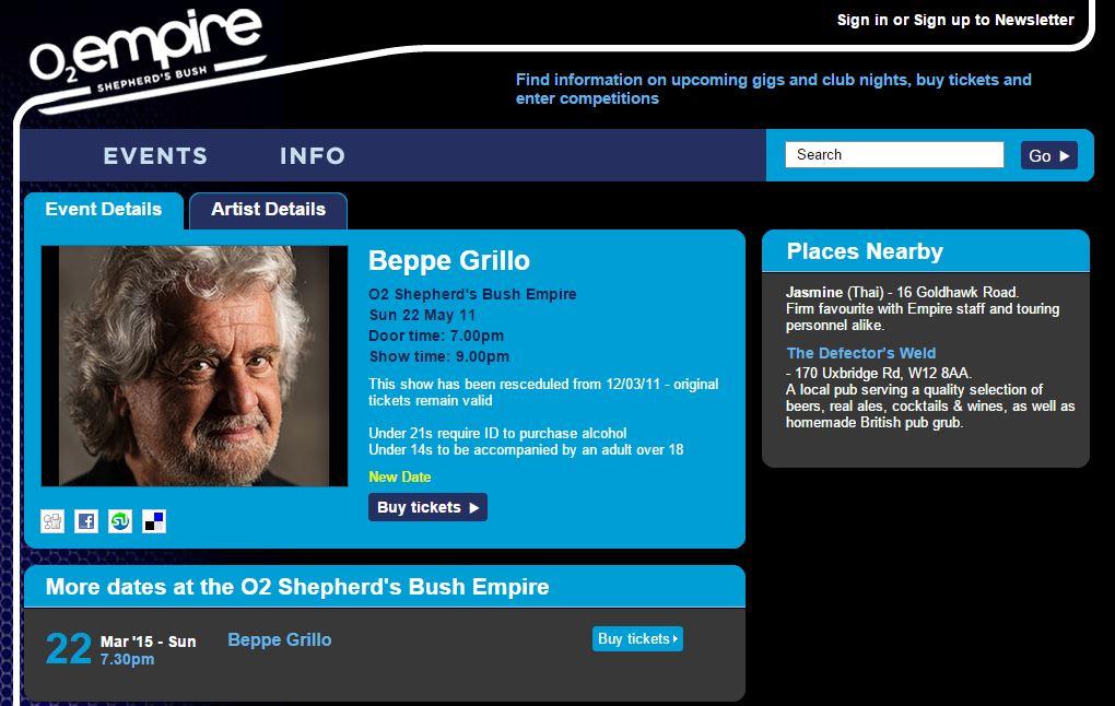beppe grillo tour marzo londra 1