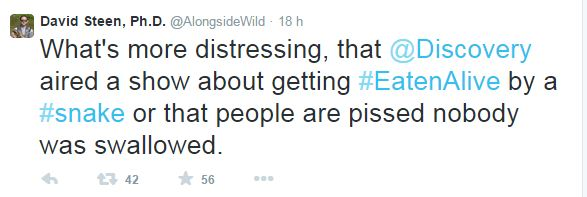 Uno dei commenti di Steen, il pubblico scocciato dal fatto che Rosolie non sia stato mangiato vivo dall'anaconda (fonte: Twitter.com)