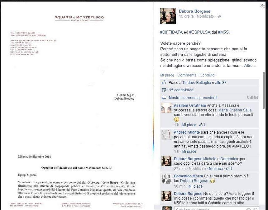 La lettera con la diffida arrivata all'attivista sicliana Debora Borgese (fonte: Facebook.com)