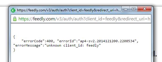 Il messaggio di errore di Feed.ly