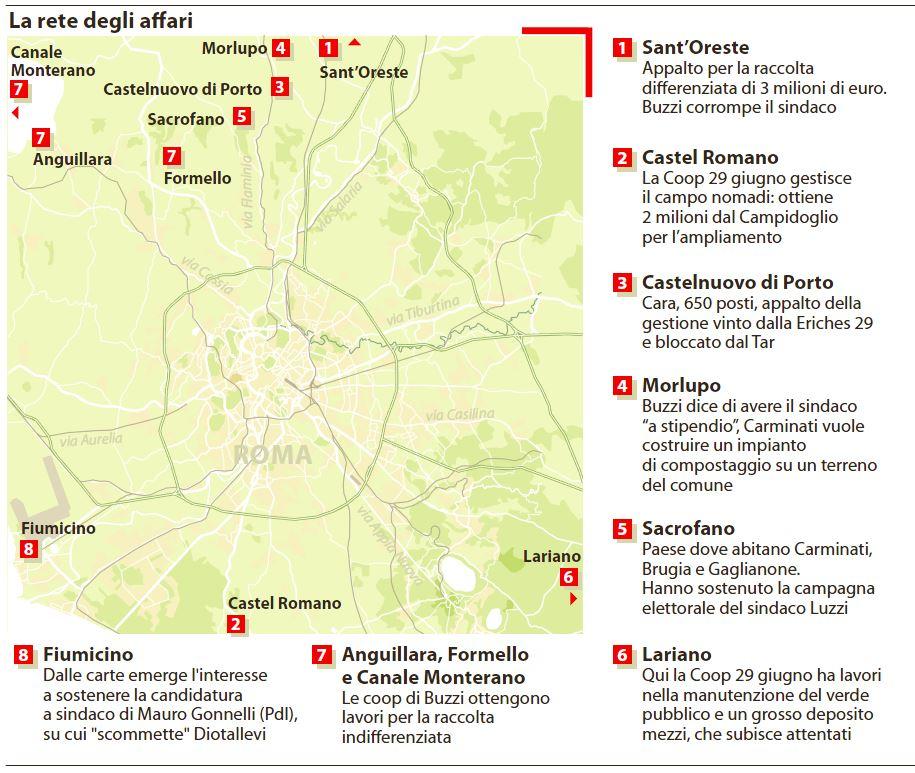 Le mani di Mafia Capitale su Roma (La Repubblica, 15 dicembre 2014)