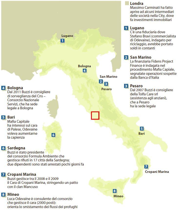 Le mani di Mafia Capitale sull'Italia (La Repubblica, 15 dicembre 2014)