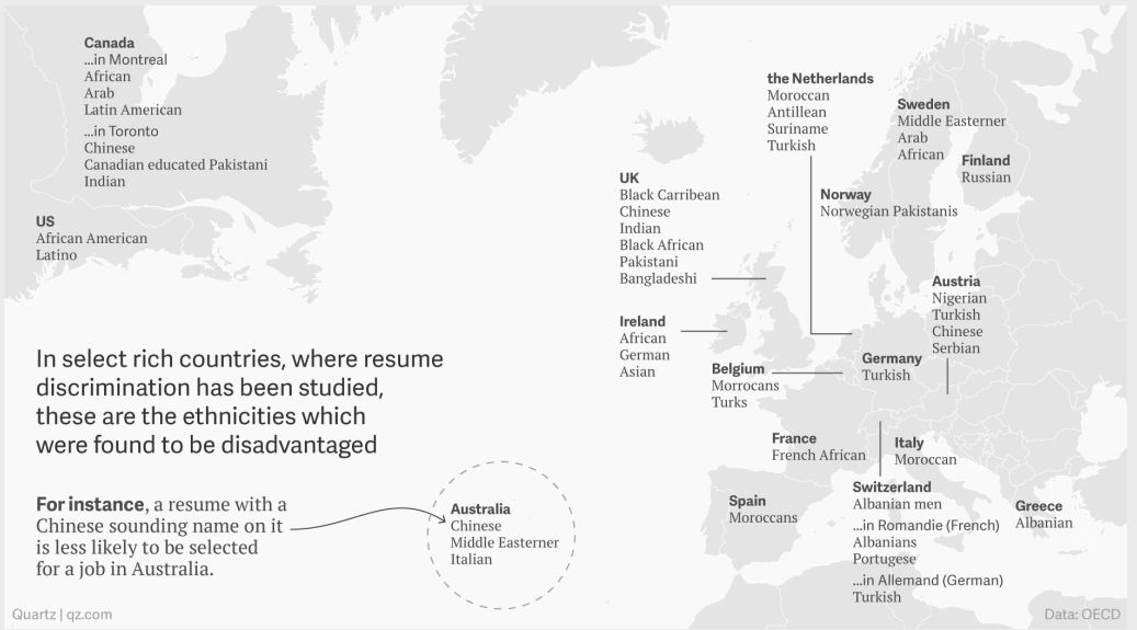 La mappa delle discriminazioni (Fonte: Quartz.com)