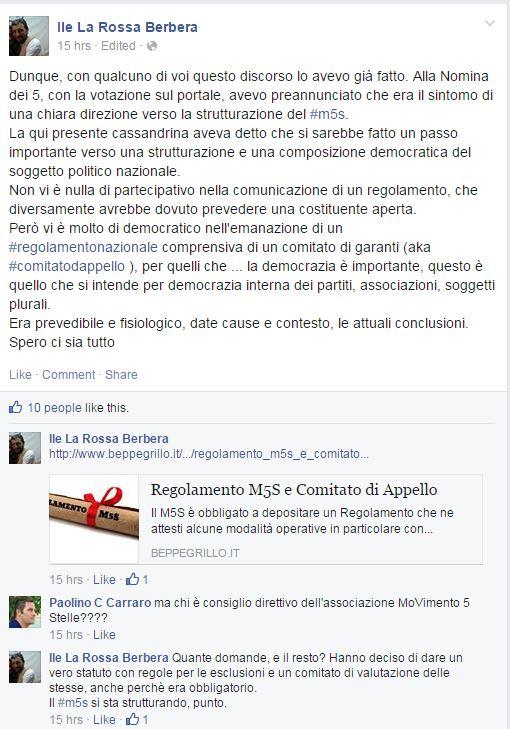 Grida di giubilo hanno accolto la venuta del Regolamento, e chissenefrega se non c'è stata una costituente interna. (Fonte: Facebook.com)