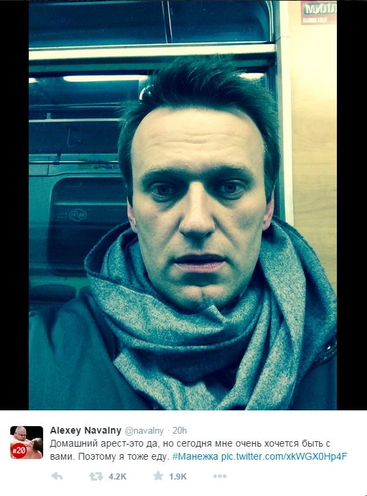 Un selfie di Alexei Navalny mentre si recava alla manifestazione contro Putin prima di essere arrestato (fonte: Twitter.com)