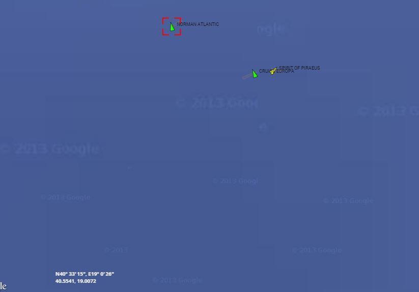 La posizione delle navi di soccorso rispetto al traghetto Norman Atlantic