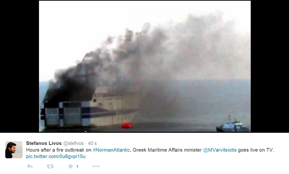 Norman Atlantic, il traghetto in fiamme
