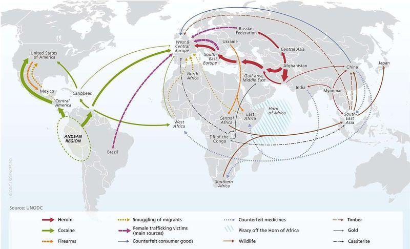 La mappa del traffico illegale nel mondo (Vox.com)