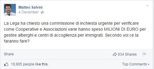 Qualcuno dovrebbe dire a Salvini da dove arrivano quei soldi. (fonte: Facebook.com)
