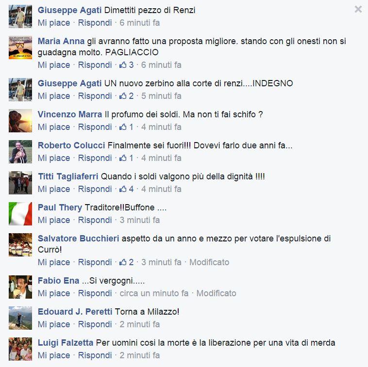 Altri insulti sulla pagina Fb di Currò