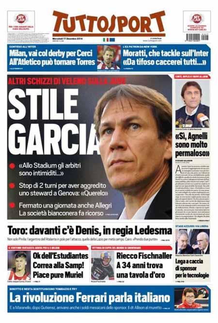 La prima pagina di Tuttosport che sfotte Rudi Garcia