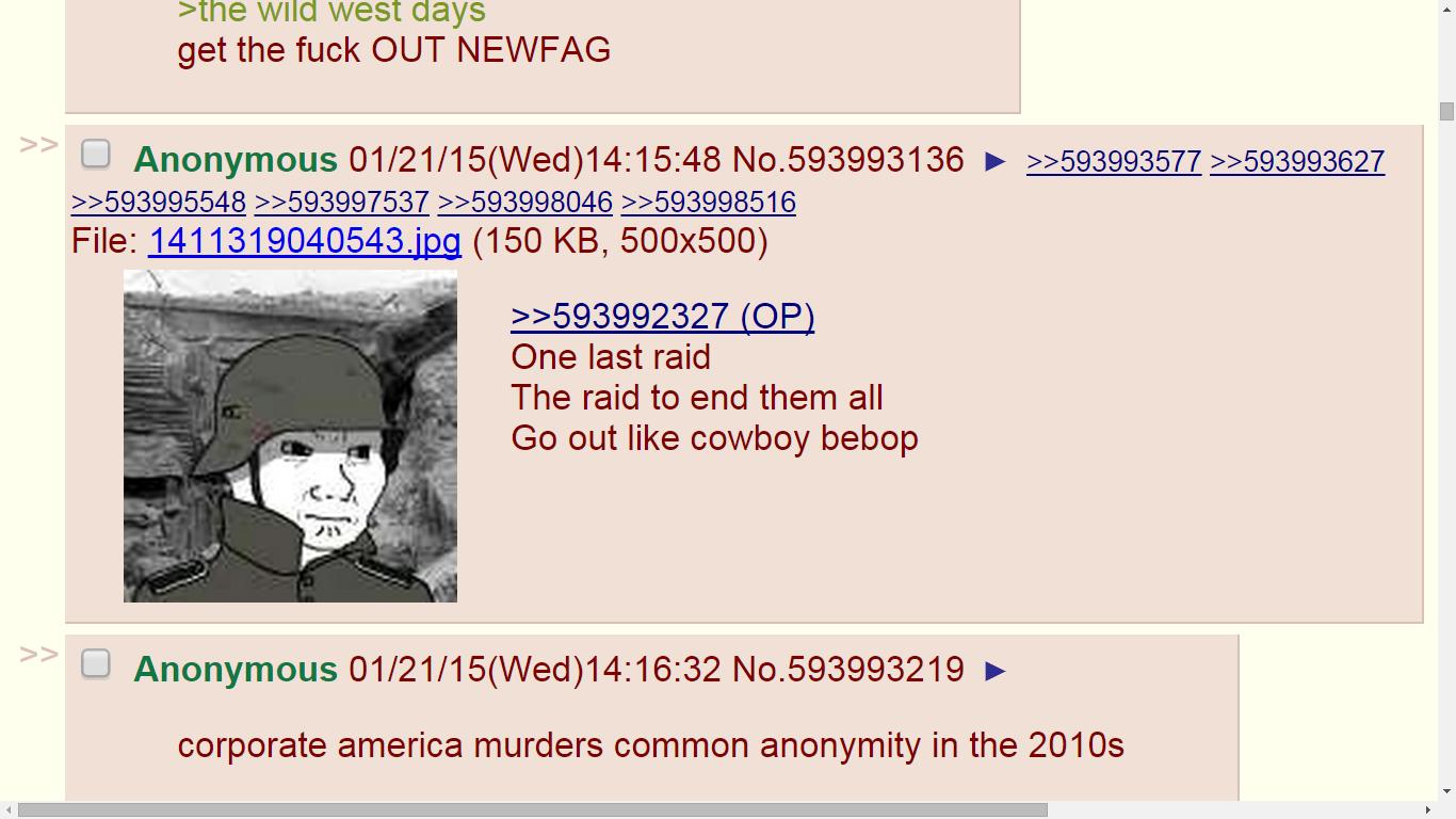 Un ultimo raid per trollarli tutti come si deve (via 4chan.org)