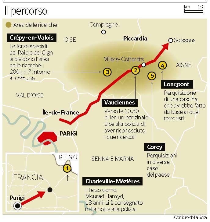 Il percorso di fuga dei fratelli Kouachi (Corriere della Sera, 9 gennaio 2015)