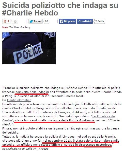Helric Fredou, il poliziotto «suicida» che indagava su Charlie Hebdo