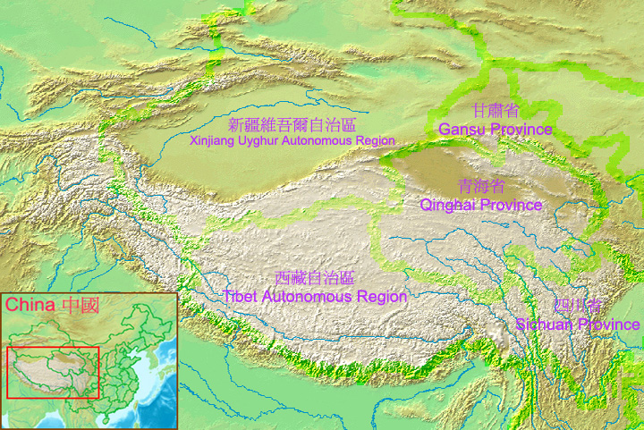 Una mappa dell'Altipiano del Tibet con i fiumi che ne dipartono per irrorare gran parte del continente asiatico (Fonte: Wikipedia.org)