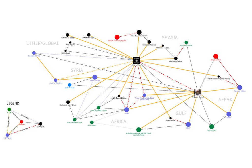 La mappa delle relazioni tra ISIS e Al Qaida (fonte: Foreignpolicymag.com)