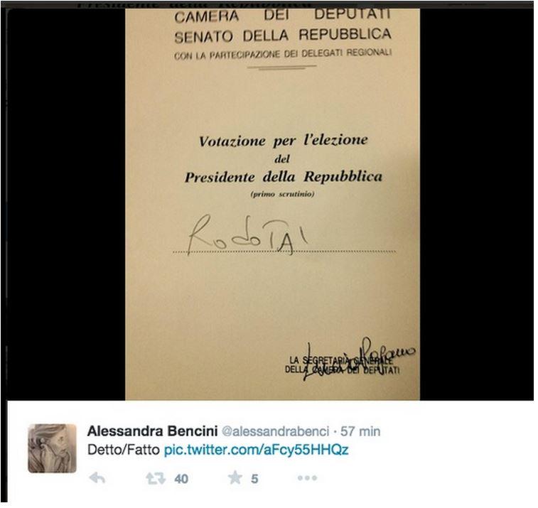 Il voto della Senatrice Bencini (via Twitter.com/allnews34.eu)