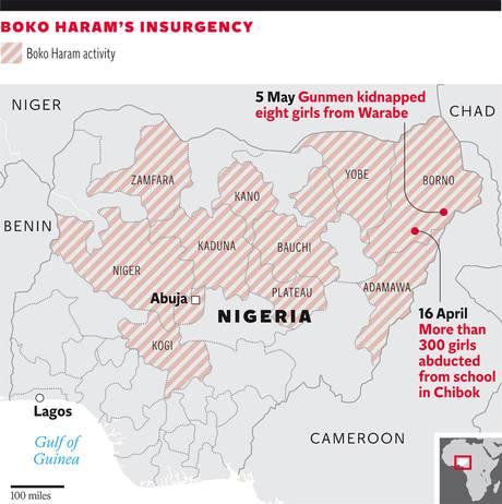 Il territorio di Boko Haram (fonte: Independent)