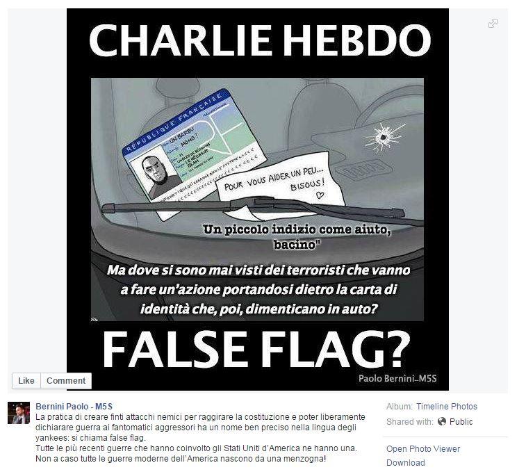 Paolo Bernini del M5S e la teoria del complotto di Charlie Hebdo (fonte: Facebook.com)