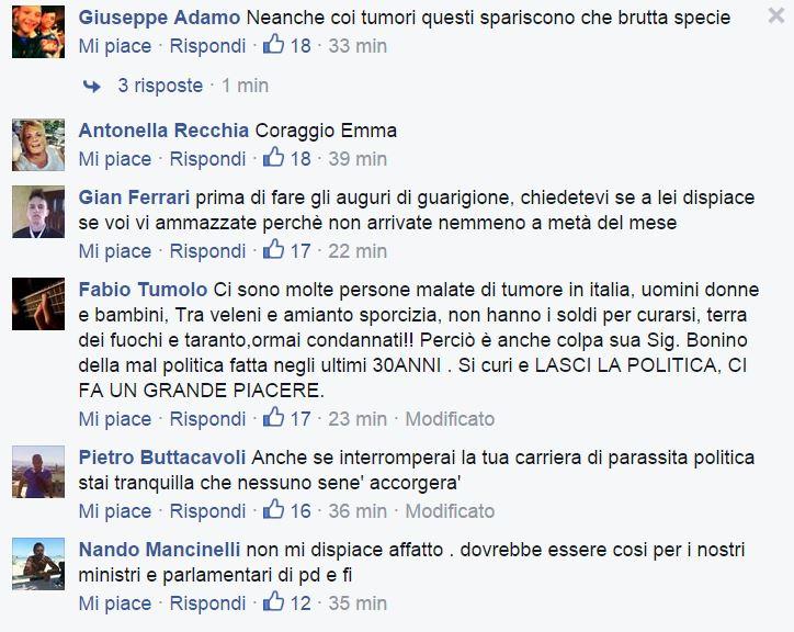 Alcuni dei commenti sulla pagina Facebook del Fatto