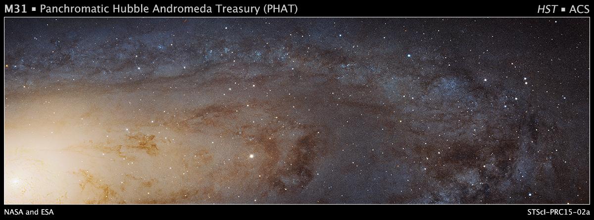 La foto scattata da Hubble di una parte della galassia di Andromeda (M31) (fonte: Nasa.gov)