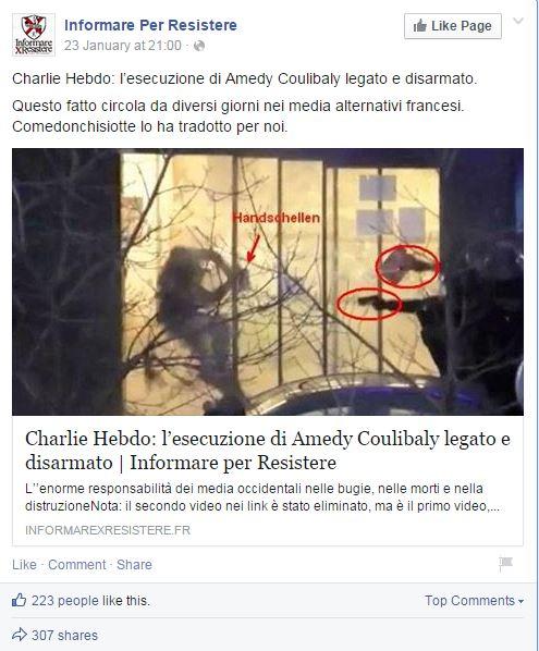 Informare x resistere sta a Parigi ma si fa tradurre i pezzi dagli altri (fonte Facebook.com)