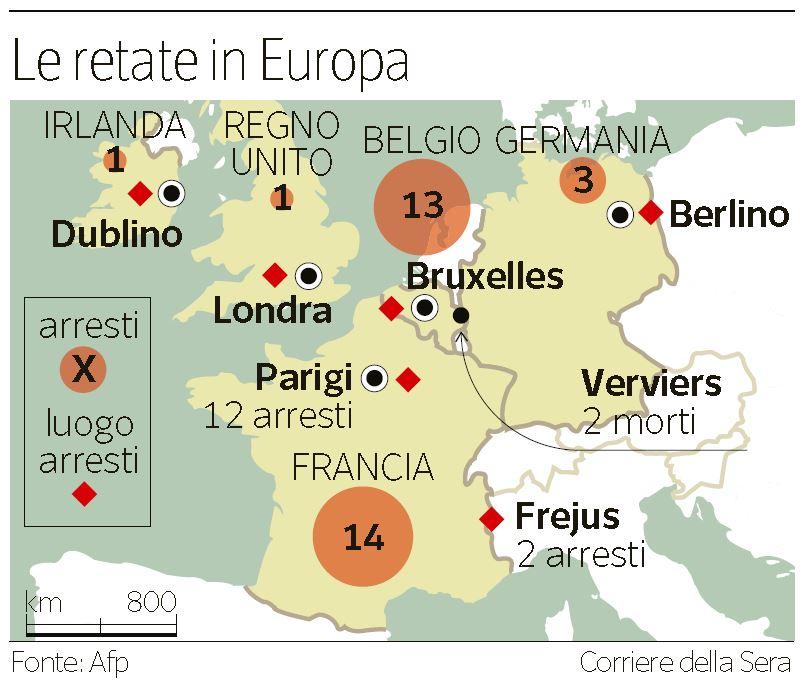 Le retate dei jihadisti in Europa (Corriere della Sera, 17 gennaio 2015)