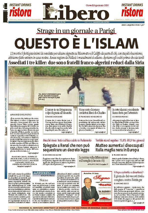 Prima pagina di Libero, 8 gennaio 2015