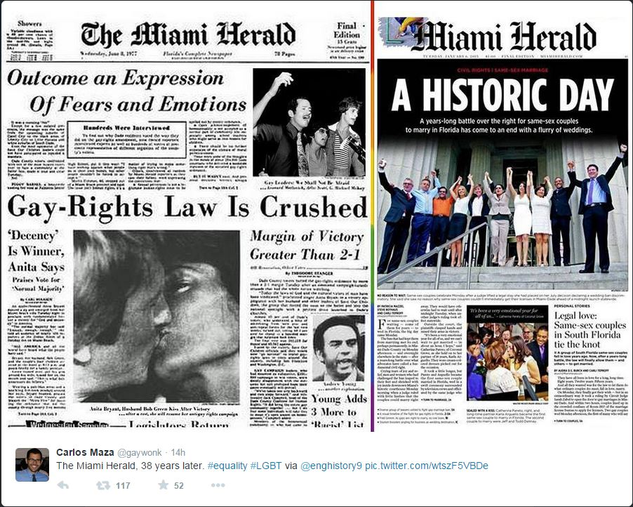Prime pagine a confronto: a sinistra una prima del Miami Herald del 1977, a destra il 2014 (fonte: Twitter.com)