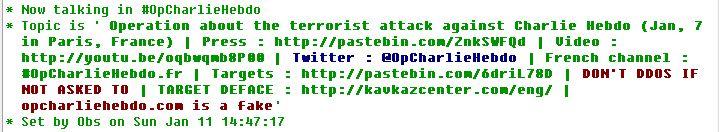 fonte: irc.anonops.com #opcharliehebdo