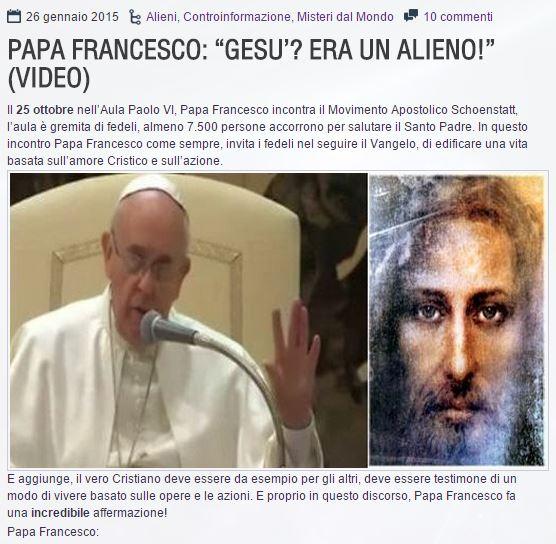 papa francesco e gesu alieno