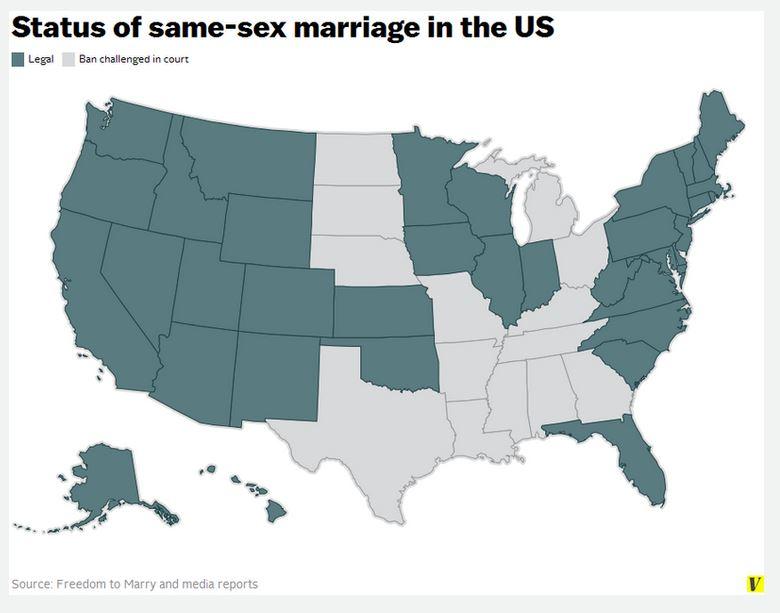 Gli stati dove è stata approvata una legge che consente i matrimoni tra persone dello stesso sesso (Fonte: Vox.com)