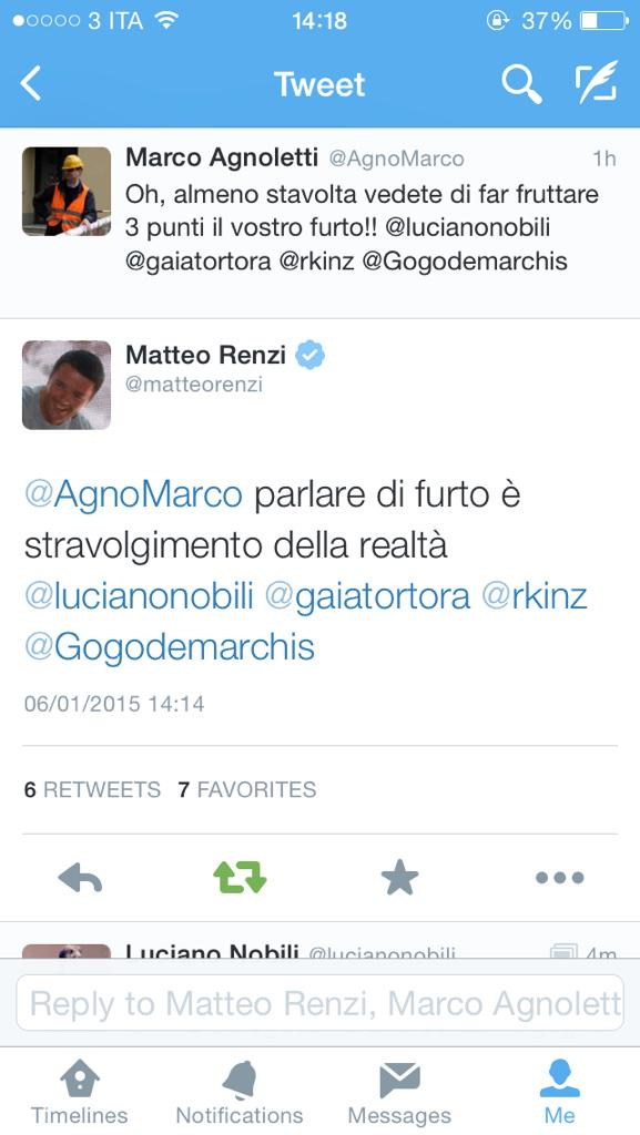 Il tweet di Renzi sul goal fantasma della Roma a Udine (fonte)