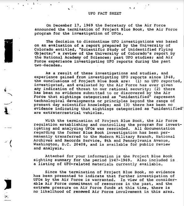 Il rapporto finale del progetto Blue Book dell'Air Force (fonte: http://vault.fbi.gov/)