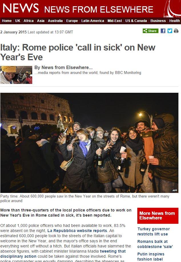 vigili romani capodanno bbc
