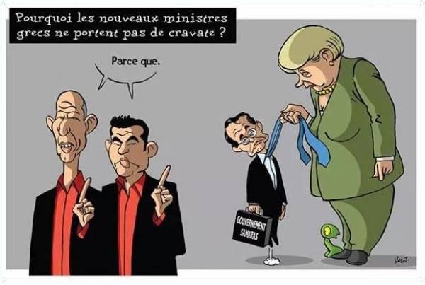 Una vignetta su Alexis Tsipras, Varoufakis, Samaras e la Merkel