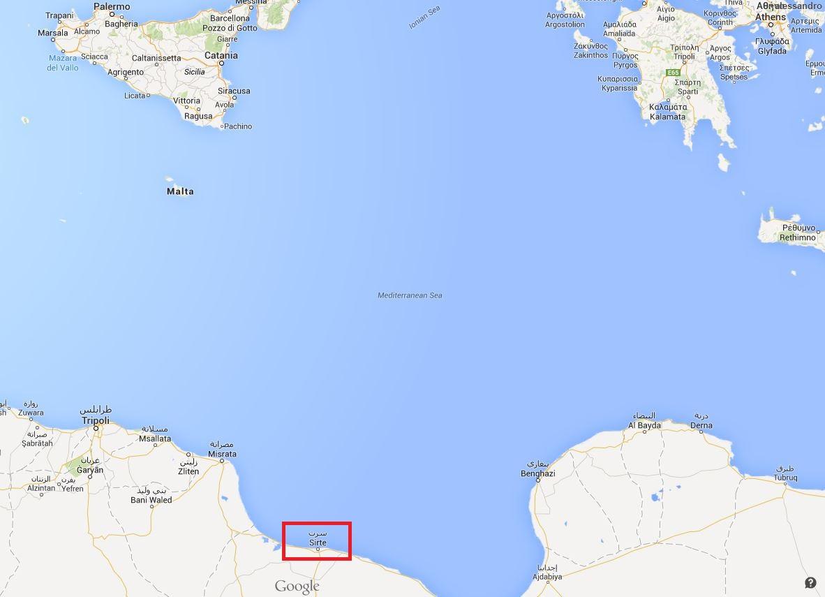 La distanza tra Sirte e la Sicilia (Google maps)