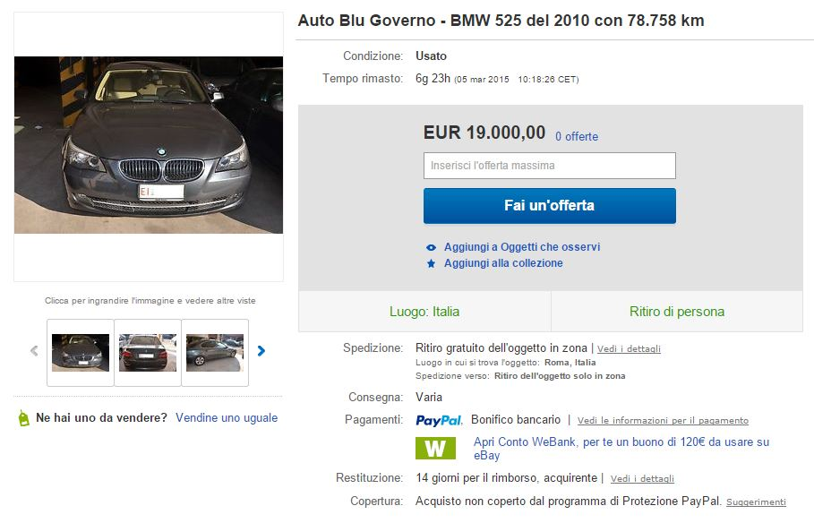 auto blu governo ebay 1