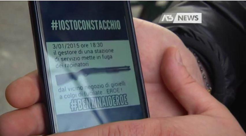 Il messaggio di solidarietà a Graziano Stacchio che sta circolando su Whatsapp (fonte: Youtube.com via Antennatre)
