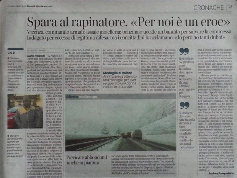 La pagina del Corriere del Veneto dedicata al benzinaio eroe di Ponte di Nanto (via Twitter.com)