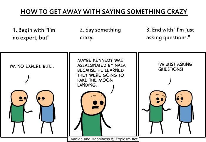 Come funziona il complottismo in tre semplici mosse (Fonte: Facebook.com)
