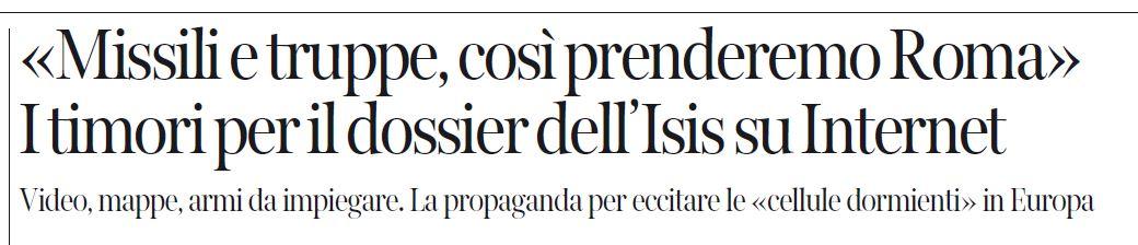 Il titolo del Corriere annuncia l'imminente sacco di Roma