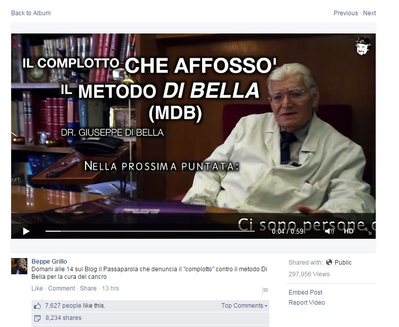 Il post di Beppe su Facebook (via Facebook.com)