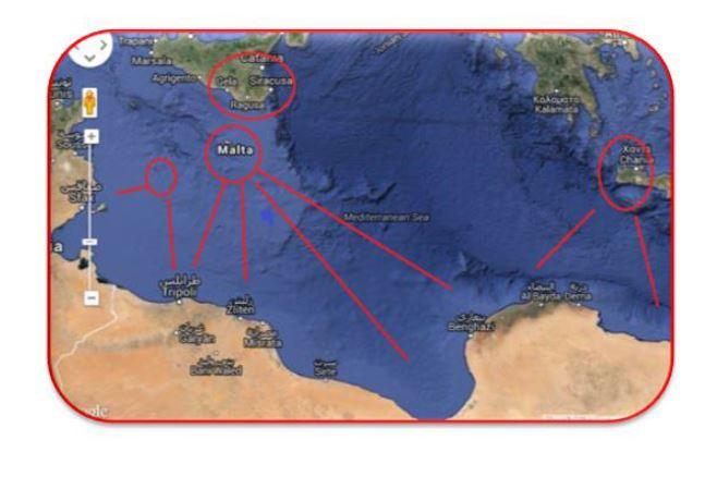"""La carta di Google Maps con """"le linee d'invasione"""" verso le terre dei crociati"""