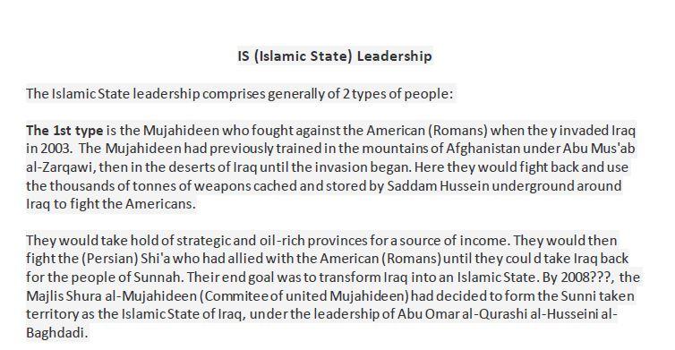 Gli americani vengono chiamati romani (dall'Ebook The Islami State pag. 9)