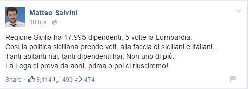 """Il vecchio cavallo di battaglia della """"vecchia"""" Lega, il confronto tra Sicilia e Lombardia (fonte: Facebook.com)"""