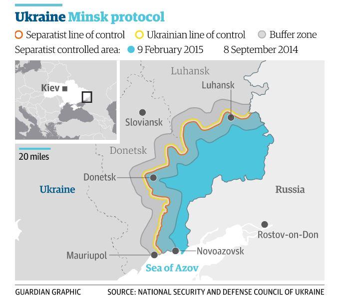Un'elaborazione di come sarà l'area dell'Ucraina orientale in seguito agli accordi stipulati tra Russia e Ucraina (fonte: Guardian.com)