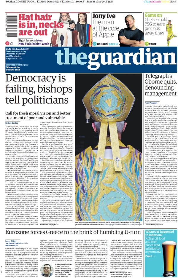 La prima pagina del Guardian con la storia di Oborne